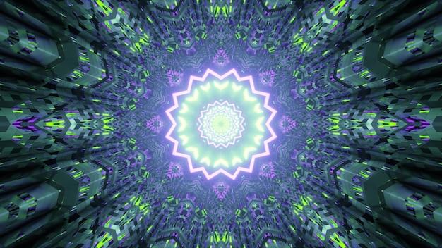 Illustratie van abstracte achtergrond van caleidoscopische futuristische gang in vorm van ster verlicht door groene en paarse neonkleuren