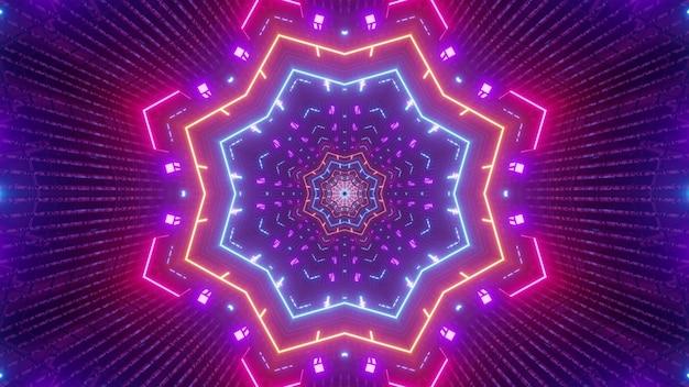 Illustratie van abstracte achtergrond van caleidoscopische tunnel in vorm van ster die door neonlichten wordt verlicht