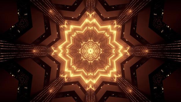 Illustratie van abstracte achtergrond van caleidoscopische verlichte stervormige tunnel die met sepia licht gloeit