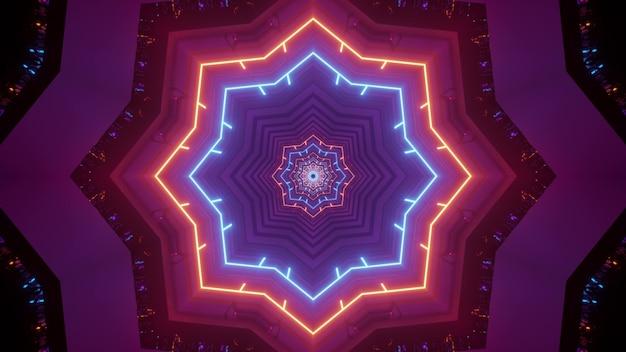 Illustratie van abstracte achtergrond van geometrische stervormige tunnel verlicht door heldere kleurrijke neonlichten