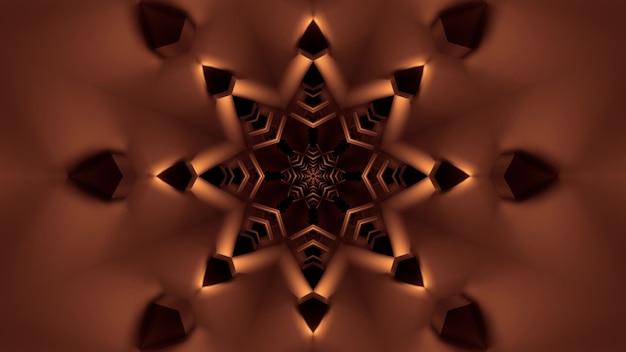 Illustratie van abstracte achtergrond van stervormige tunnel met gloeiende sepia verlichting