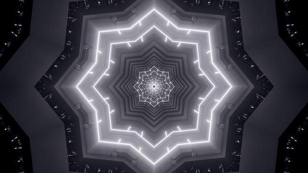 Illustratie van abstracte achtergrond van zwart-witte eindeloze tunnel in vorm van ster die door neonlicht wordt verlicht