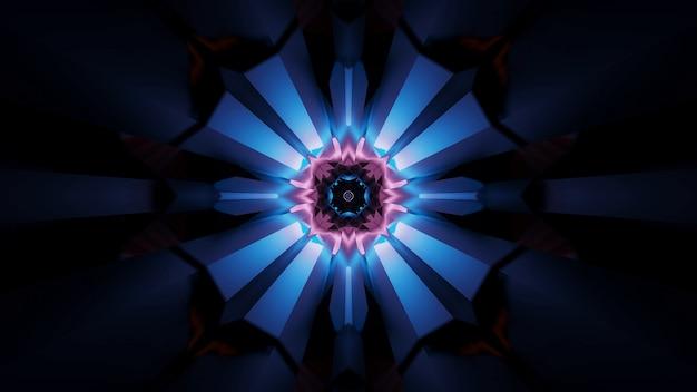 Illustratie van abstracte futuristische caleidoscopische partijlichteffecten met neonlichten