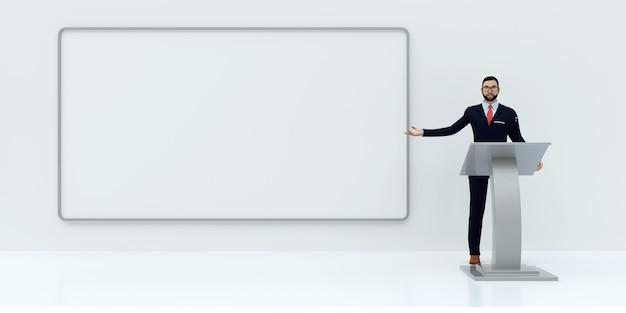 Illustratie van bedrijfspresentatie op witte achtergrond, het 3d teruggeven