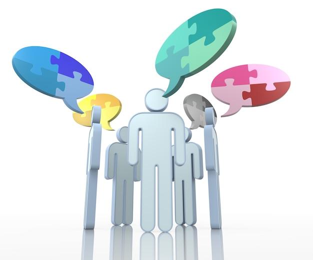 Illustratie van business team met praatjebel gemaakt van puzzelstukjes