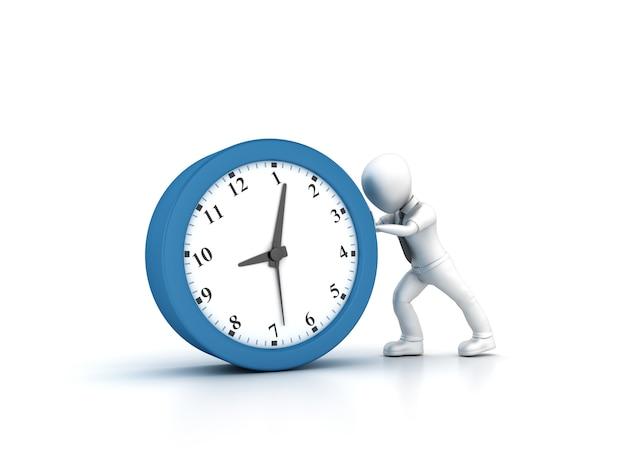 Illustratie van cartoon business person pushing clock teruggeven