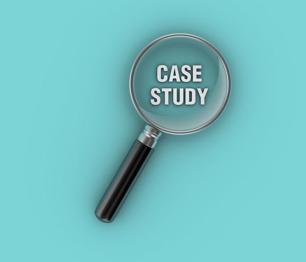 Illustratie van casestudy weergeven formulering met vergrootglas