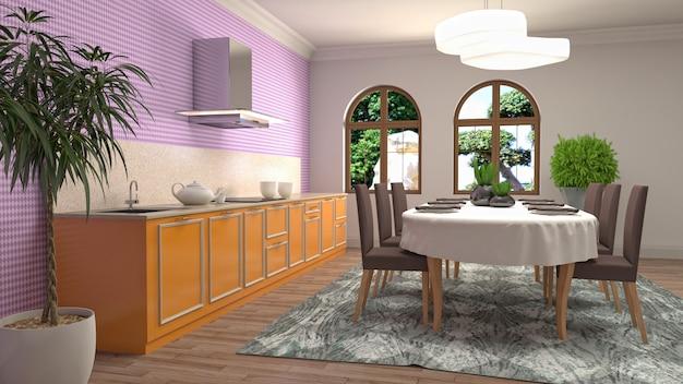 Illustratie van de eetkamer interieur