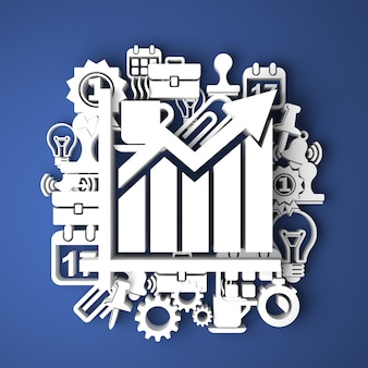 Illustratie van de groei in het bedrijfsleven. kaart handgemaakt van papieren karakters. 3d-weergave. bedrijfsconcept.
