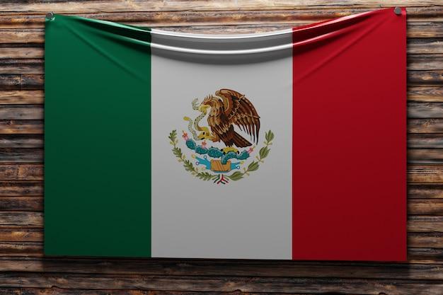 Illustratie van de nationale stoffenvlag van mexico genageld op een houten muur