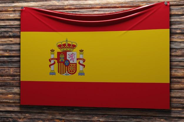Illustratie van de nationale stoffenvlag van spanje genageld op een houten muur
