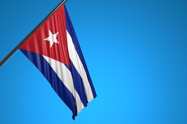 Illustratie van de nationale vlag van cuba op een metalen vlaggenmast wapperen tegen de blauwe hemel