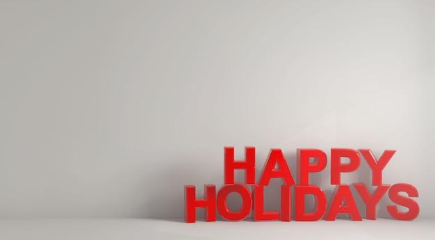 Illustratie van de woorden gelukkige vakantie geschreven met gewaagde rode letters op een witte achtergrond