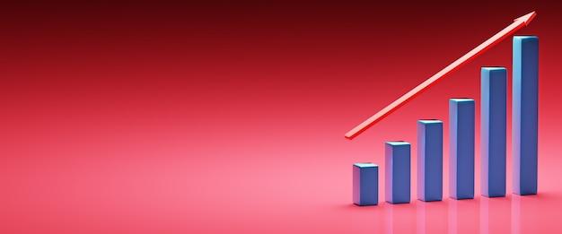 Illustratie van diagram met de groeiende vooruitgang en lege achtergrond bedrijfsconcepten