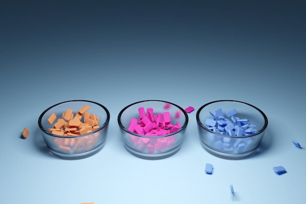 Illustratie van drie kleine glazen plaatjes met veelkleurige kauwgom