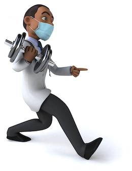Illustratie van een arts met een masker