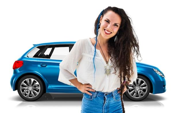 Illustratie van een blauwe hatchbackauto met een vrouw