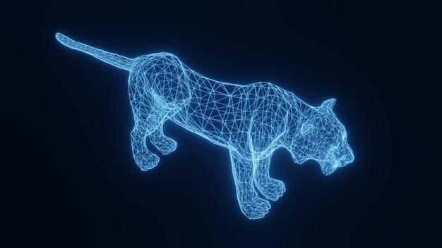 Illustratie van een blauwe neon gloeiende tijger uit een driedimensionaal raster. 3d-weergave.
