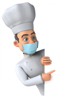 Illustratie van een chef-kok met een masker