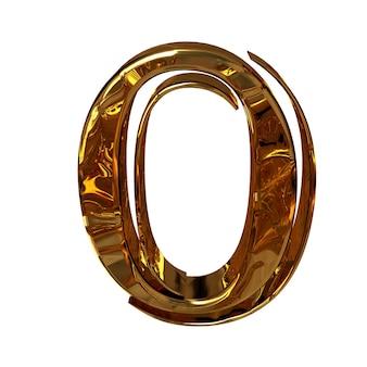 Illustratie van een cijfer 0 gemaakt van goud.