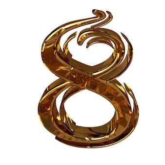 Illustratie van een cijfer 8 gemaakt van goud.