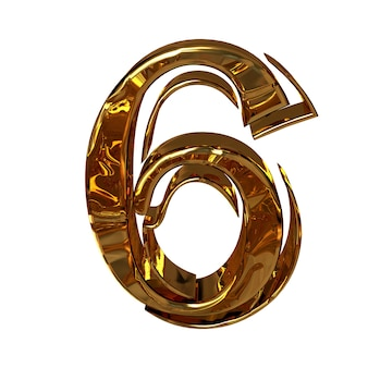 Illustratie van een figuur 3 gemaakt van goud.