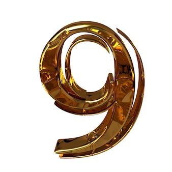 Illustratie van een figuur 9 gemaakt van goud.