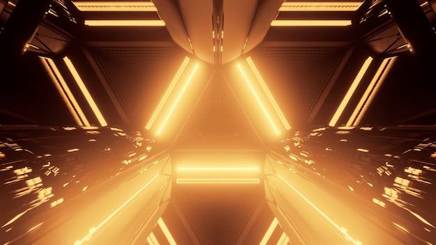 Illustratie van een gele driehoek gemaakt van gloeiende lijnen