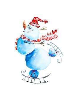 Illustratie van een gelukkige sneeuwpop die schaatst op een witte achtergrond