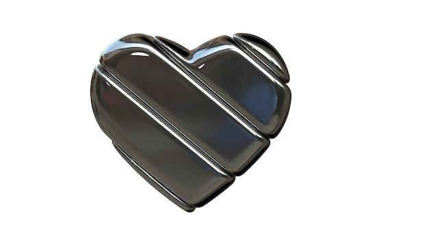 Illustratie van een hart gemaakt van zilver. hoge kwaliteit foto