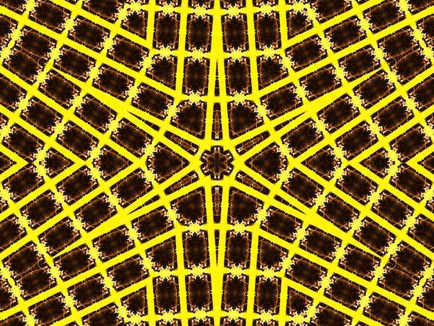 Illustratie van een heldere fractal caleidoscoop van fakkels en zon met spiralen.