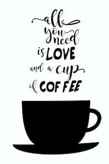 Illustratie van een koffiekopje met de inscriptie erboven in de vorm van stoomtekst op een witte uitknipachtergrond