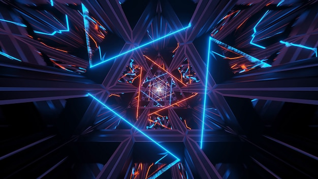 Illustratie van een kosmische achtergrond met oranje neonlaserlichten