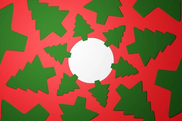 Illustratie van een patroon van groene naaldbomen in de vorm van een cirkel