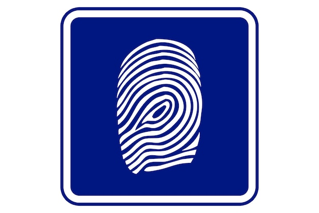 Illustratie van een vingerafdruk op blauwe achtergrond. Premium Foto
