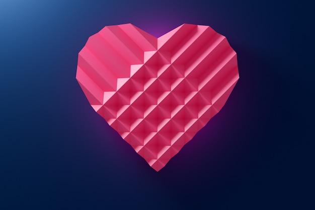 Illustratie van een volumetrisch roze hart gemaakt van papier op een blauwe achtergrond.