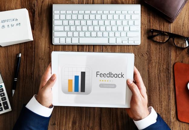 Illustratie van feedbackreactie van toepassingsgebruikers