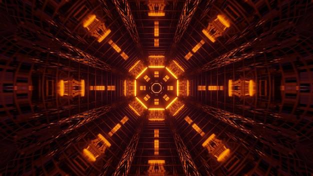 Illustratie van geometrische vormen met kleurrijke laserlichten