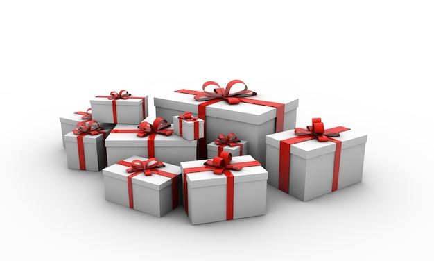 Illustratie van geschenkdozen met rode bogen geïsoleerd op een witte achtergrond
