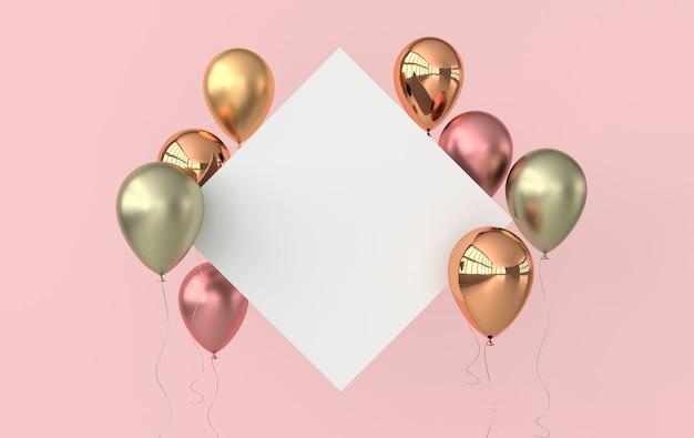 Illustratie van glanzende ballonnen en wit papier op roze achtergrond
