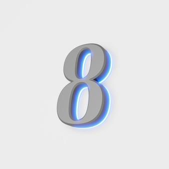Illustratie van gloeiend cijfer op witte achtergrond.