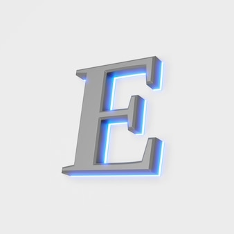 Illustratie van gloeiende letter e op witte achtergrond. 3d illustratie