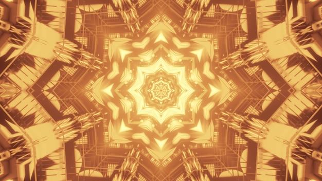 Illustratie van helder stervormig ornament dat met geel licht binnen abstracte tunnel gloeit