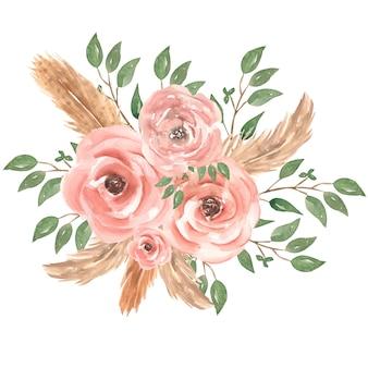 Illustratie van het de bloemboeket van de waterverf de hand getrokken roze rozen met groene bladeren, knoppen, veren en tak. bruidsboeketten.