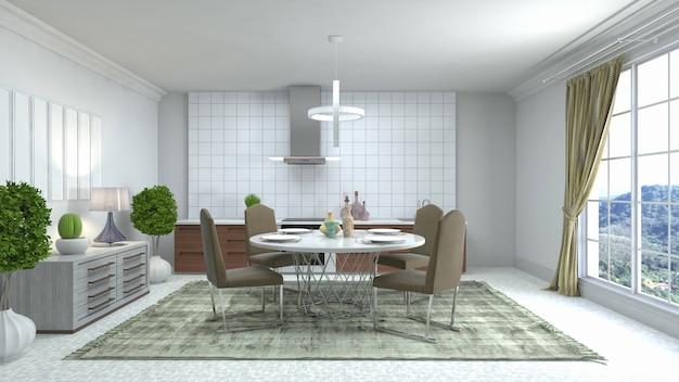 Illustratie van het interieur van de eetkamer