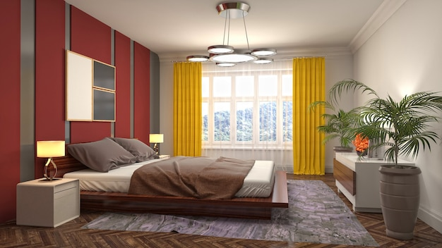 Illustratie van het slaapkamerbinnenland