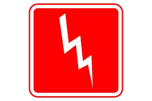 Illustratie van het teken van het hoogspanningsgevaar op rode achtergrond.