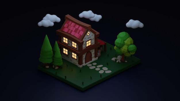 Illustratie van huis met omgeving en donkere achtergrond in 3d-ontwerp
