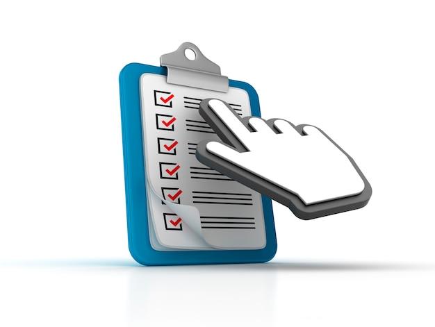 Illustratie van klembord met checklist en cursor weergeven