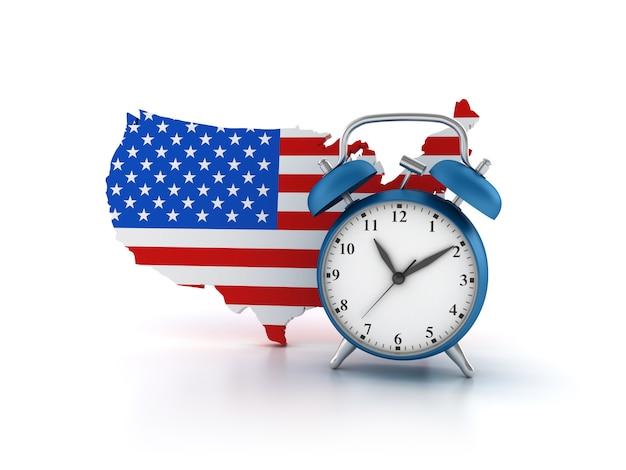 Illustratie van klok met amerikaanse vlag renderen